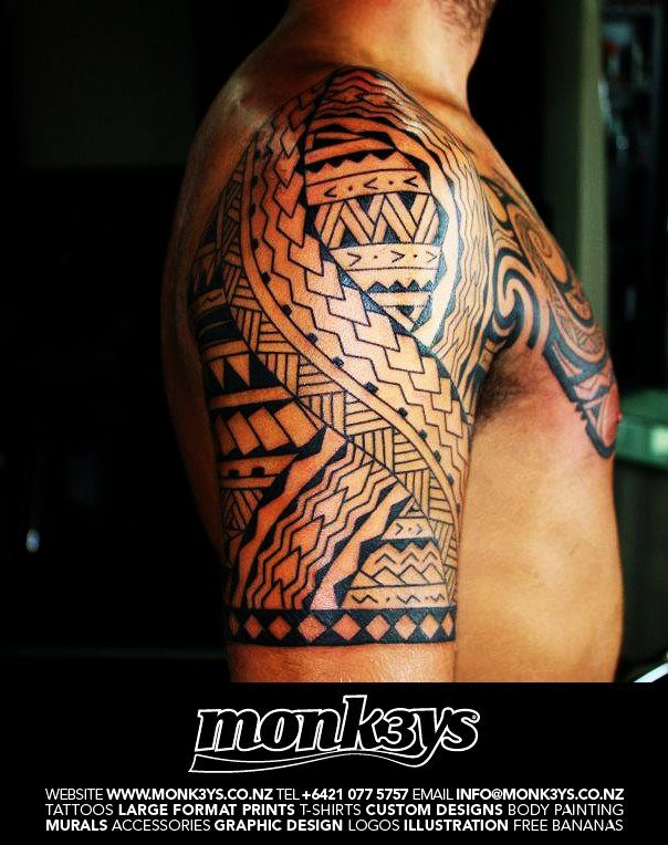 polynesian half sleeve tattoos polynesian maori half sleeve and chest plate 3 by monk3ys. Black Bedroom Furniture Sets. Home Design Ideas