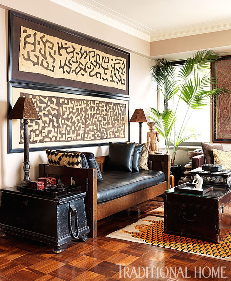 Framed Kuba Cloth And Pillows In This Global Well Traveled Style Room.  Designer Carmen