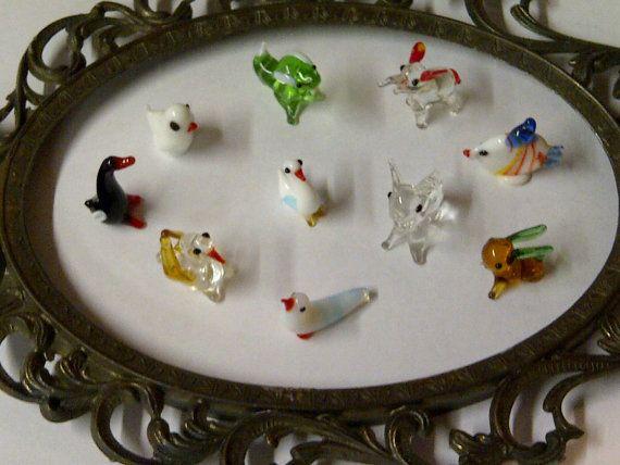 Vintage 1970s Hand Blown Mini Glass Animals Hand Blown Glass Glass Animals Hand Blown