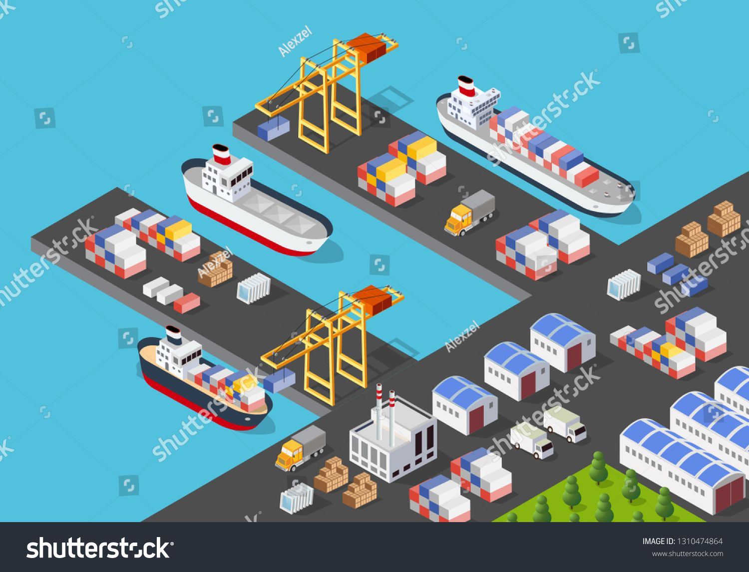 Isometric port cargo ship cargo seaport at sea with crane container transport vessel logistic illustration #Sponsored , #AFFILIATE, #ship#seaport#sea#Isometric
