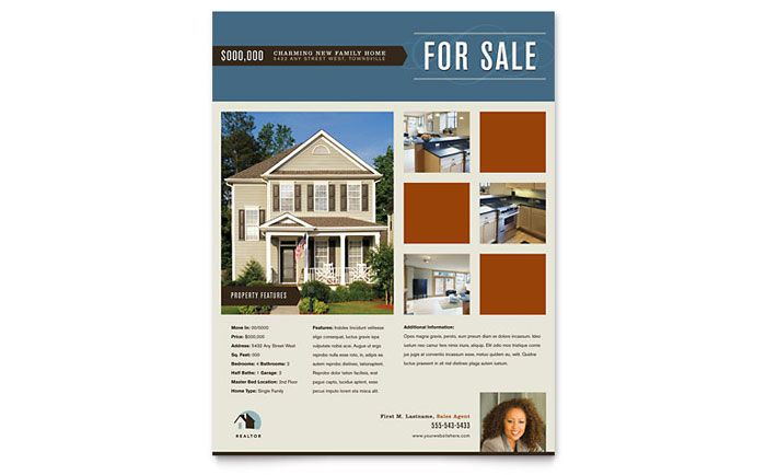 Real Estate Agent and Realtor Flyer Design Template by - home sale flyer template