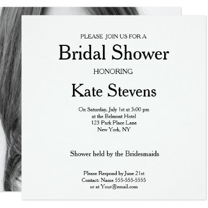 wedding bridal shower plain invitation photo card pinterest