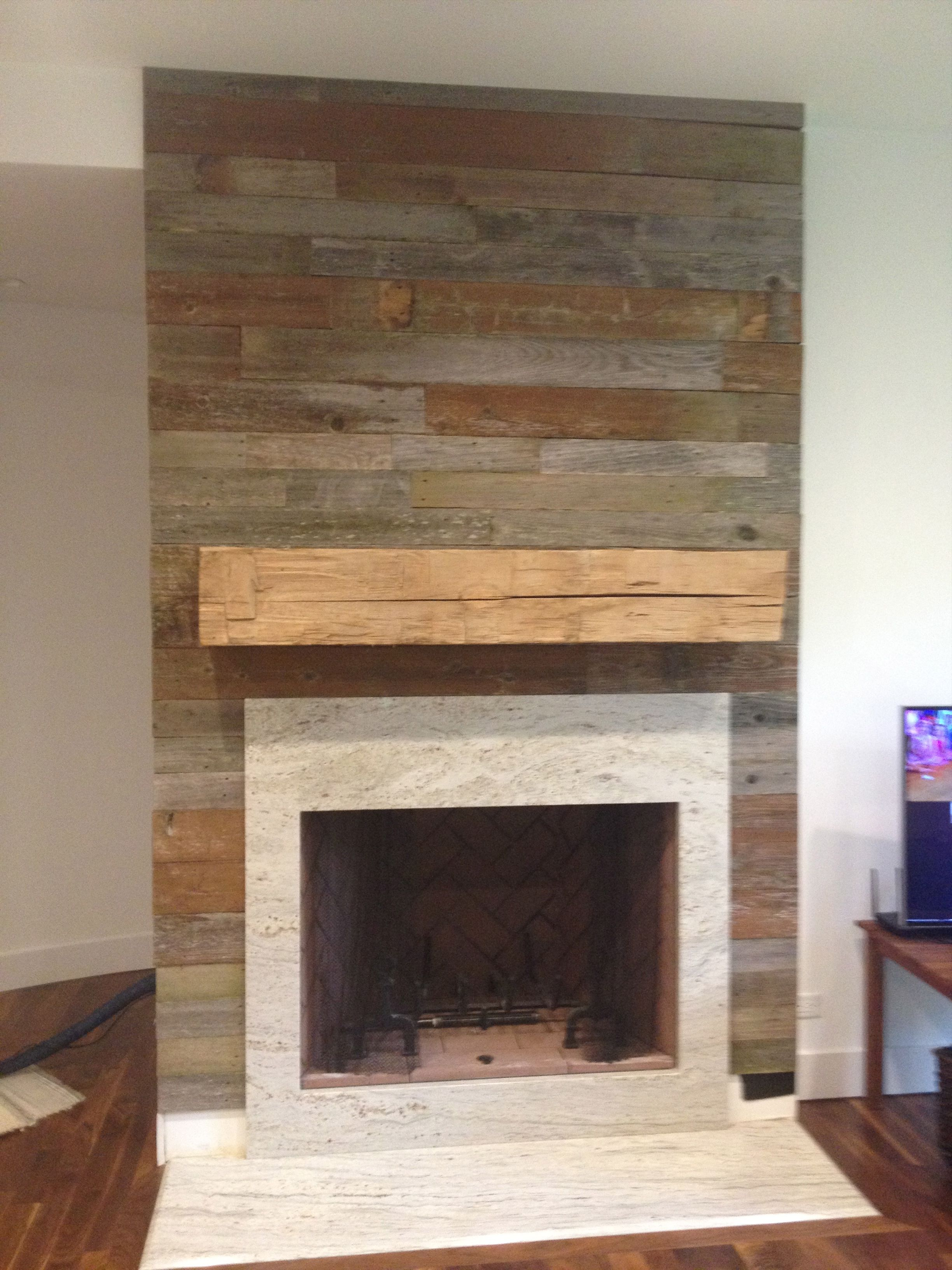 Reclaimed wood fireplace surround and mantel fireplaces for Wood fireplace surround designs