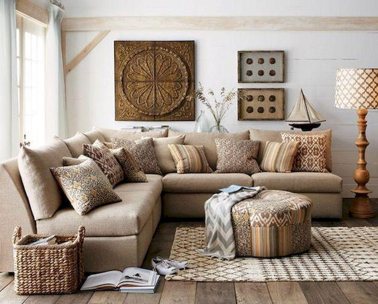 Cuscini Su Divano Marrone stunning 60 cozy modern farmhouse living room decor ideas