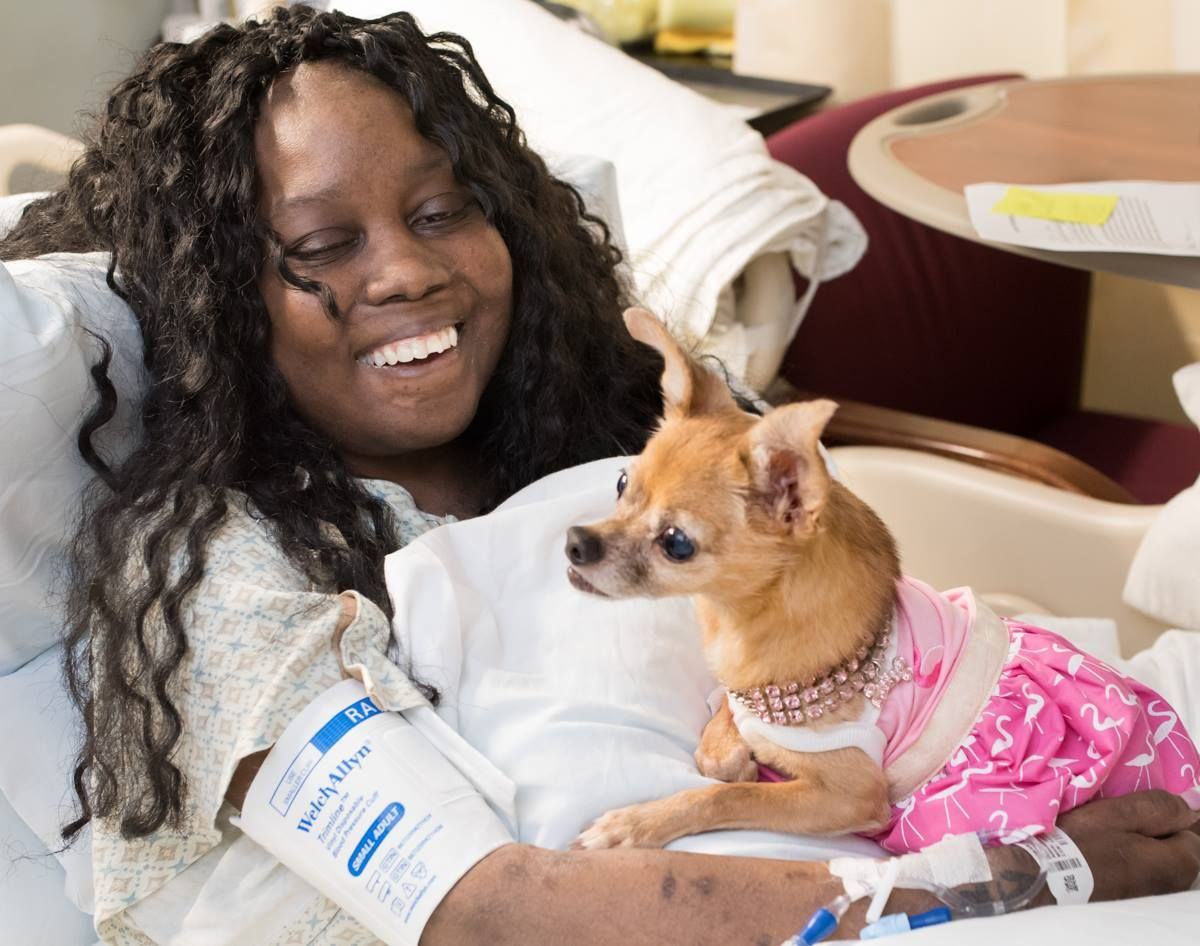 Our pet therapy dogs have helped lower blood pressure and anxiety in patients. Chicklet loves sitting with people and making them smile! #TGHTuesday #LifeIsWhy