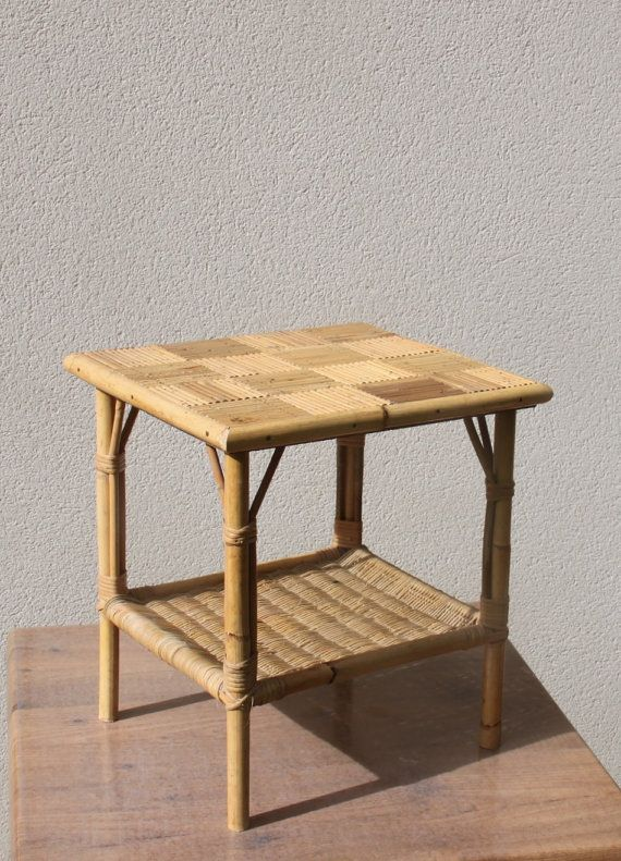 Small Coffee Table Small Table Wicker Rattan Bamboo Straw Vintage