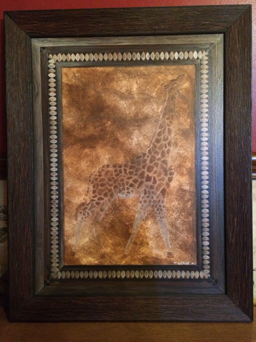 Giraffe framed. 16x20 Acrylic/Glaze. I painted the inner frame to ...