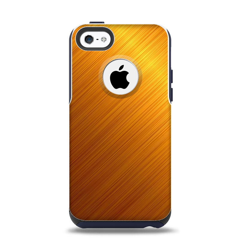 The Gold Brushed Aluminum Surface Apple iPhone 5c Otterbox Commuter Case Skin Set