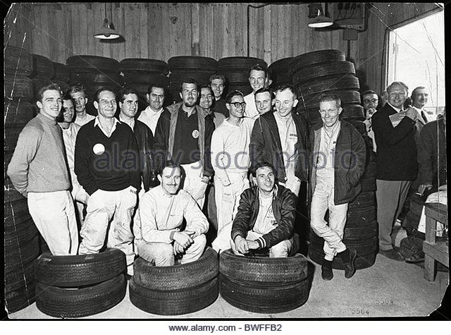 Members Of The Grand Prix Driversa Association Pose For The Camera Before Convening A Meeting Prior To The 1963 British G p At - Stock Image