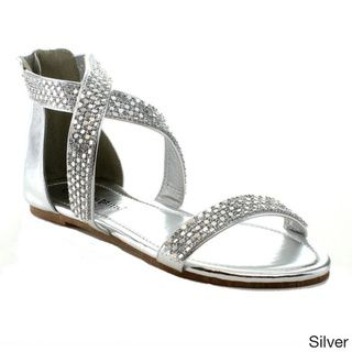 75547acf5 Nature Breeze Women s  Florence-03  Rhinestone-studded Flat Sandals ...