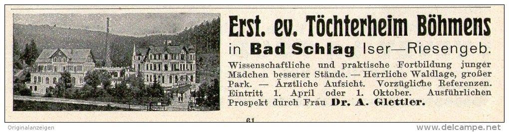 Original-Werbung/ Anzeige 1911 - BAD SCHLAG / BÖHMEN - ca. 115 x 40 mm