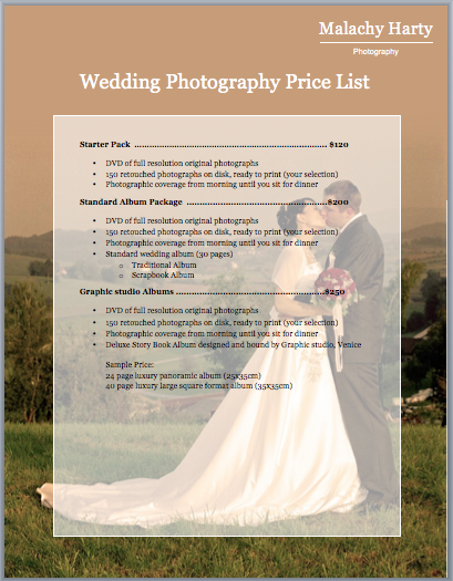 Wedding Photography Price List Template Template – Wedding Price List