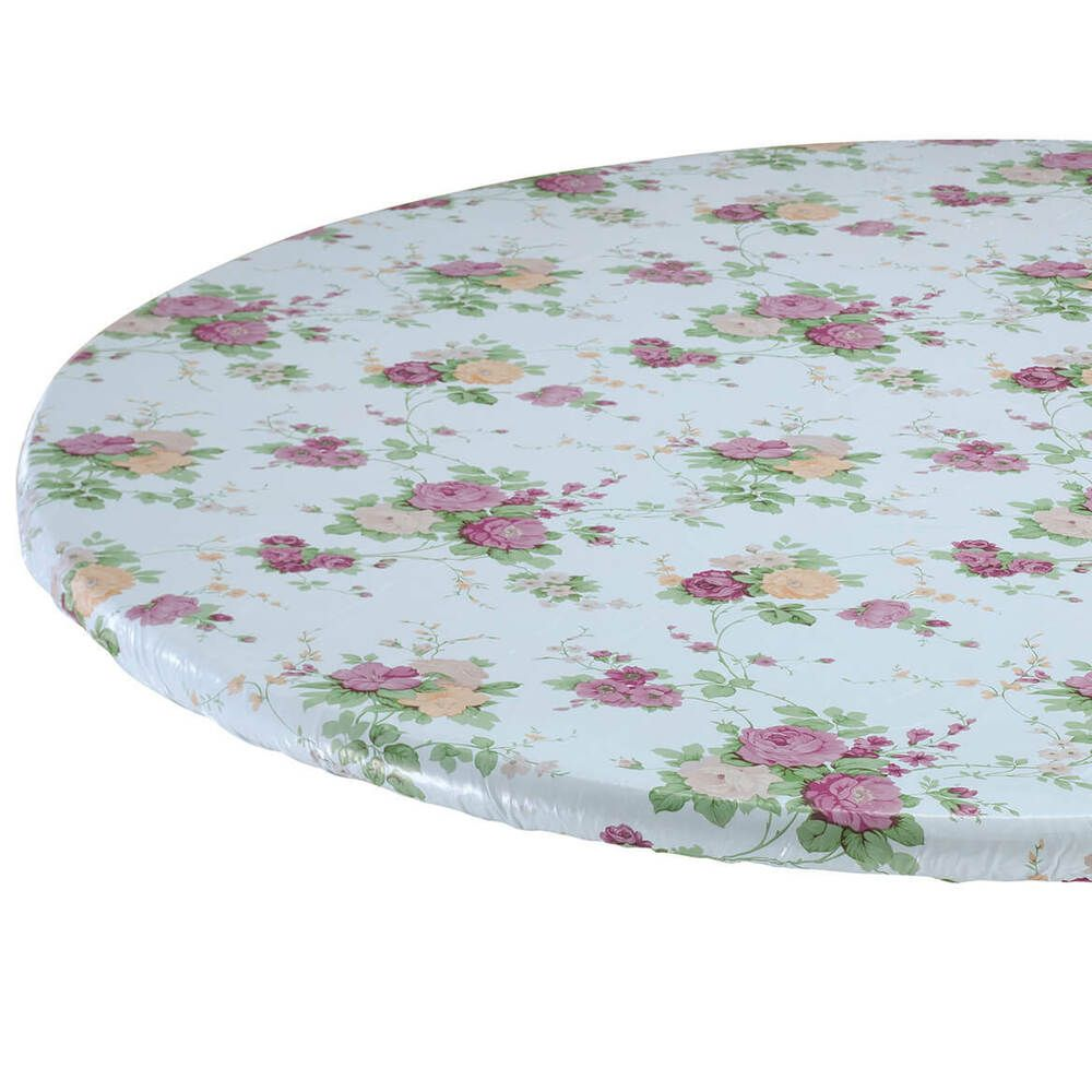 Floral Round Elasticized Tablecloth Table Cover Flower Vinyl Fitted Cover 45 56 Na Vinyl Table Covers Table Covers Table Cloth
