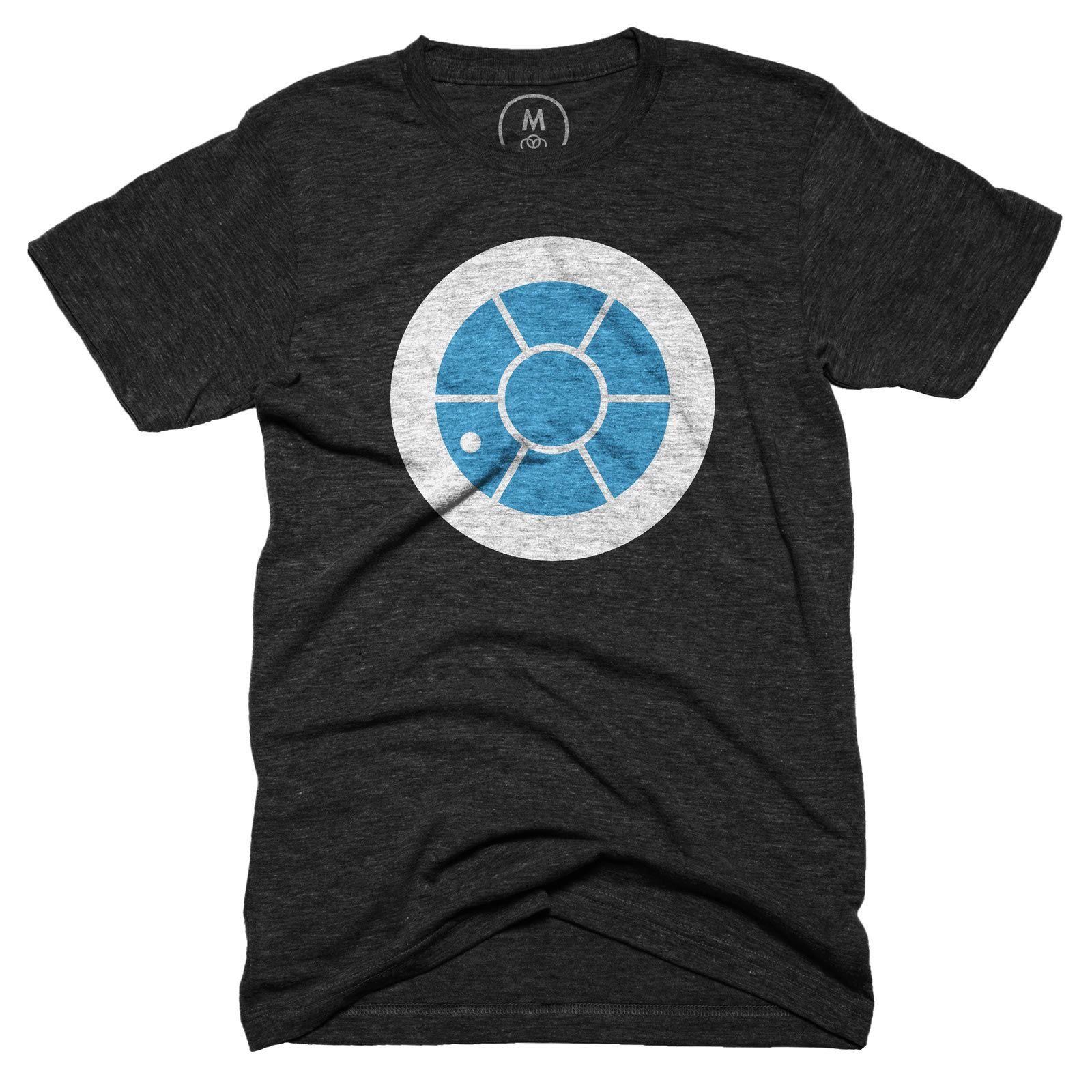 """Cotton Bureau – """"R2D2"""" t-shirt. Design by Nicholas Burroughs."""