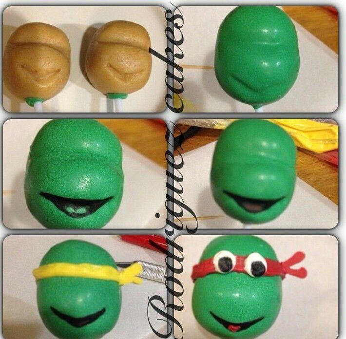 1946636eda00cd1af5ea3d34d6b49dd6 Jpg 710 696 Pixeles Ninja Turtle Cake Pops Cake Pop Tutorial Tmnt Cake