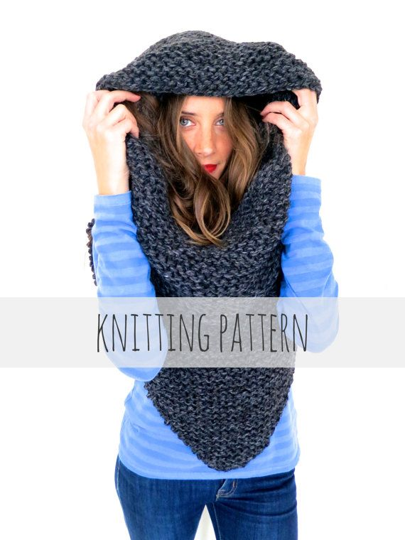 Knitting Pattern // Hooded Poncho Scarf Cowl Chunky Knit // Armor ...