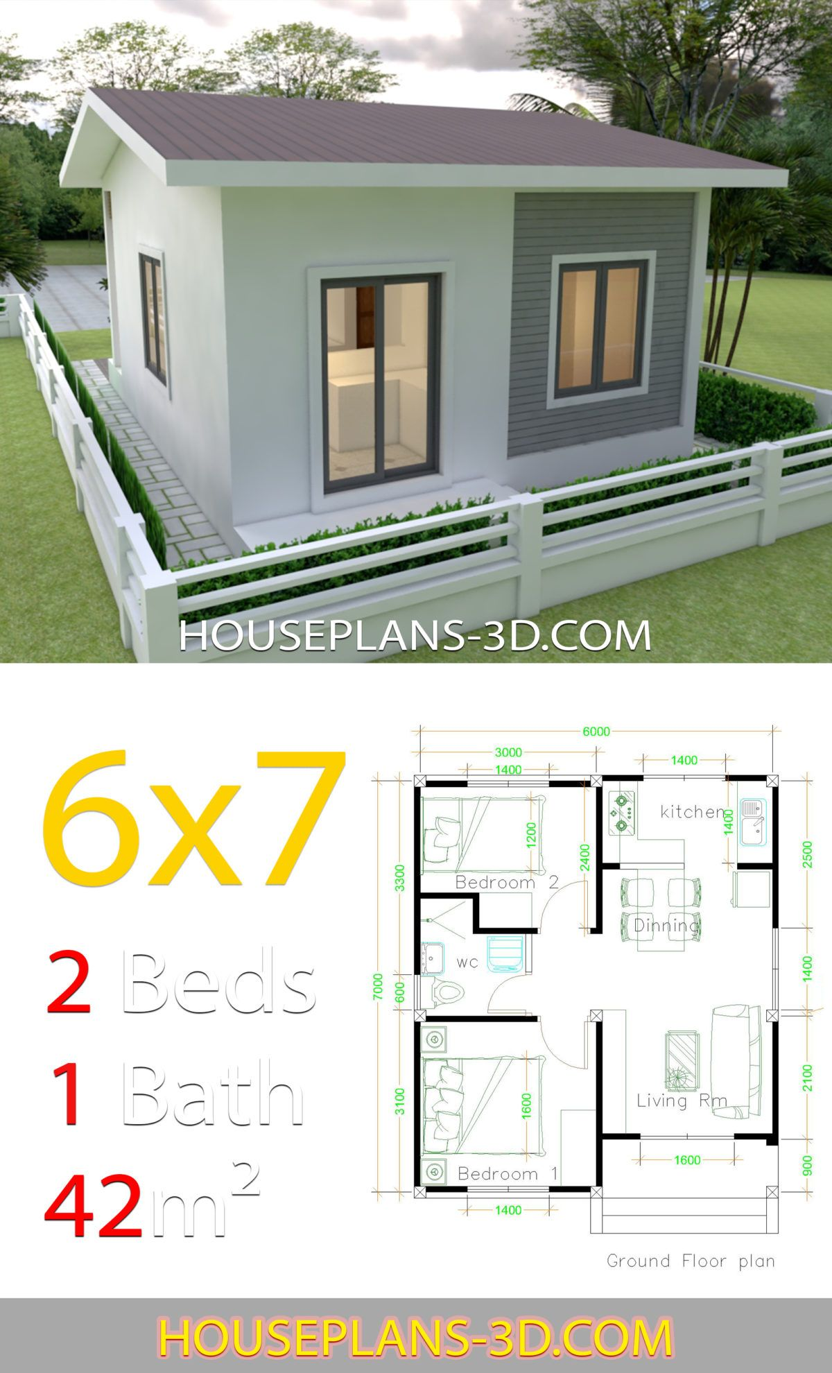 House Design 6x7 With 2 Bedrooms House Plans 3d In 2020 Small House Architecture Tiny House Design Small House Design