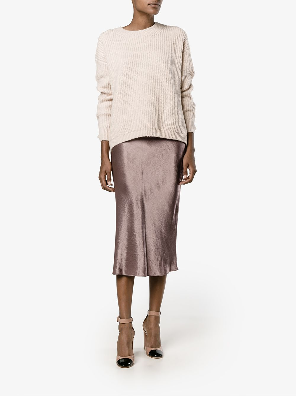 a9fd6756f This coffee Vince flared satin midi skirt is going to be of excellent  service to you