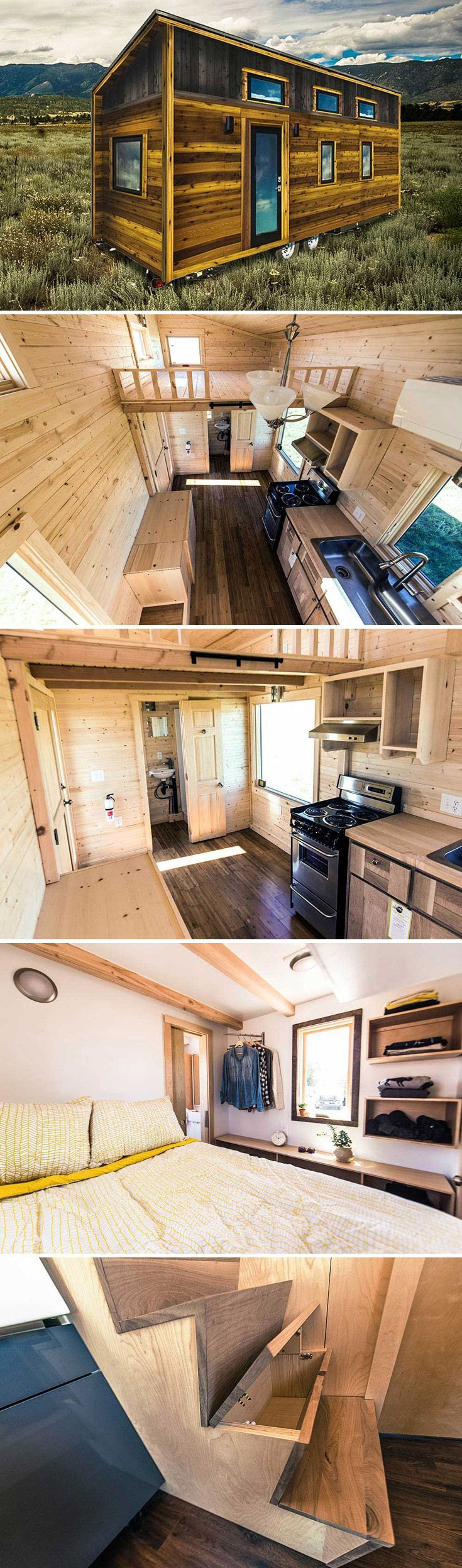 This contemporary 219 sq ft tiny house features a shed roof line and includes a main floor bedroom large loft propane stove and storage stairs