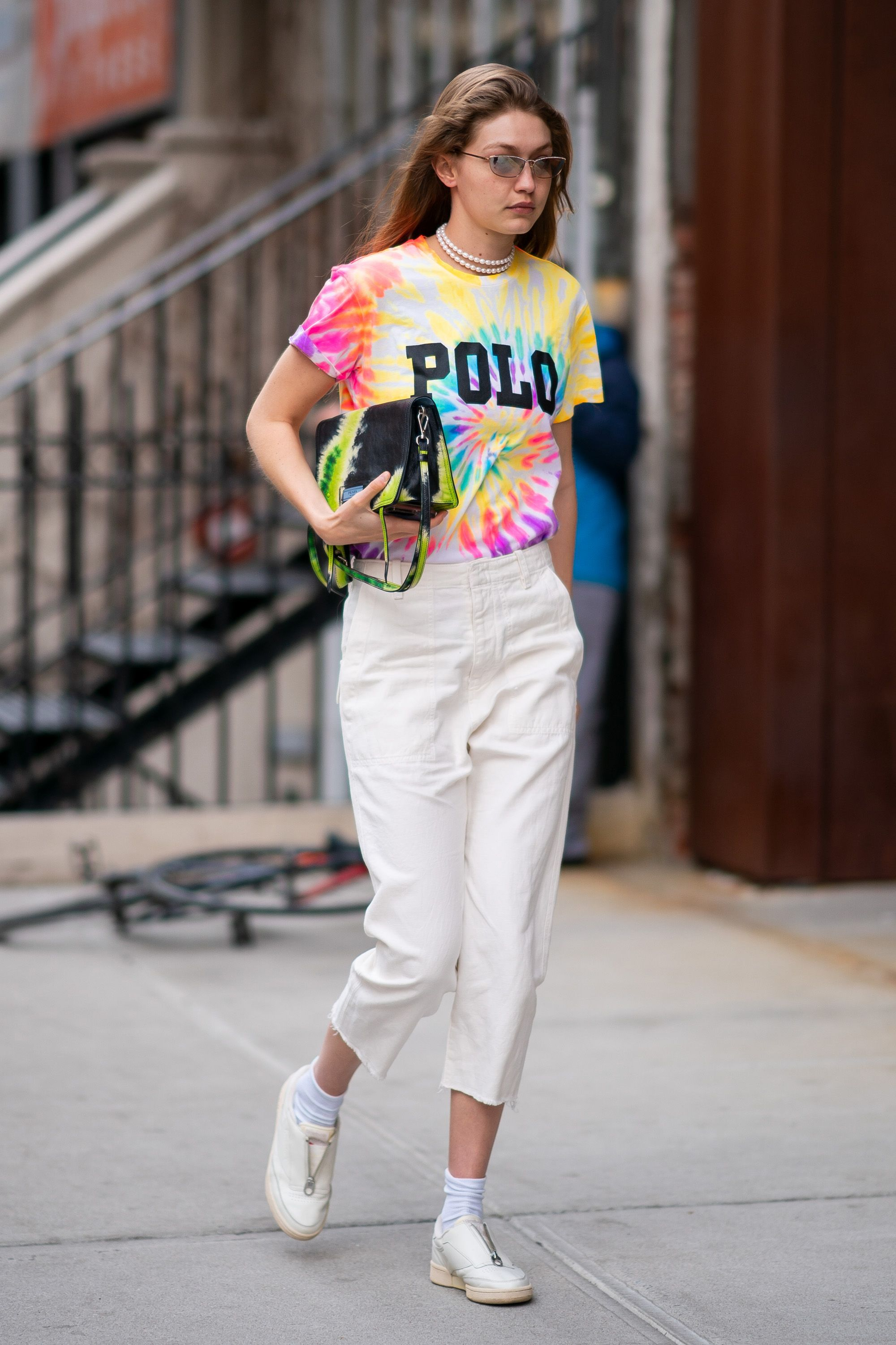 f09f50fd Model #GigiHadid wears a Polo Ralph Lauren tie-dye tee from Spring 2019  while in New York this past weekend. #PoloRLStyle