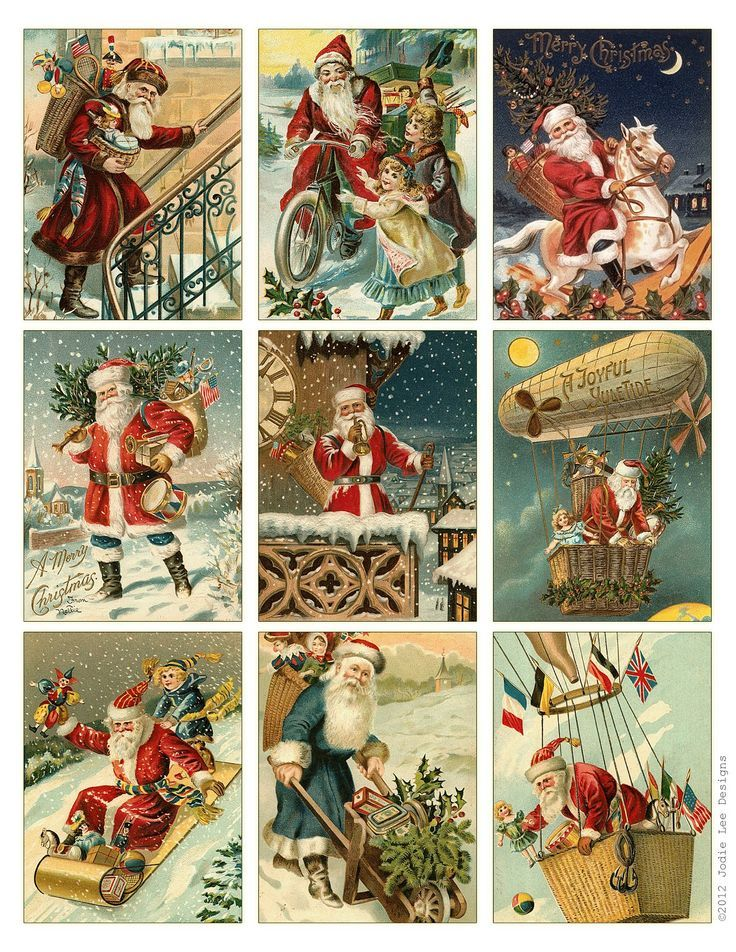 Free to Download! Printable Vintage Santa Tags or cards КАРТИНКИ