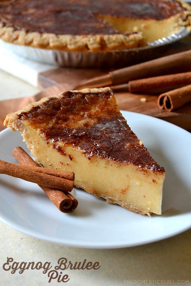 Eggnog Brulee Pie #sugarcreampie