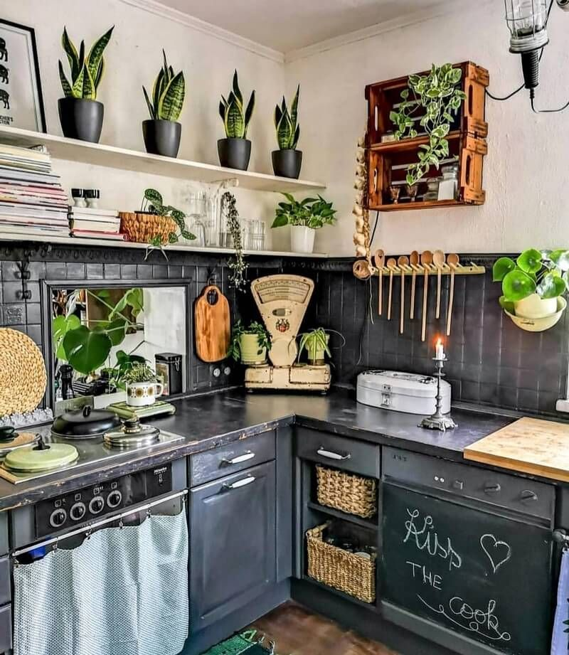 warm up your home with a comfortable shading palette of dark colored orange and copper as on boho chic kitchen id=88042