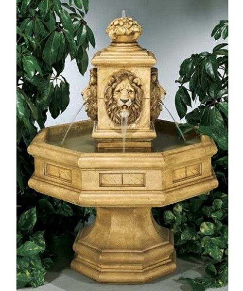 Classic Lion Fountain - Fit for a regal garden, the Classic Lion Fountain offers a stately appearance to enrich your setting. A decorative top sculpture provides a waterspout...