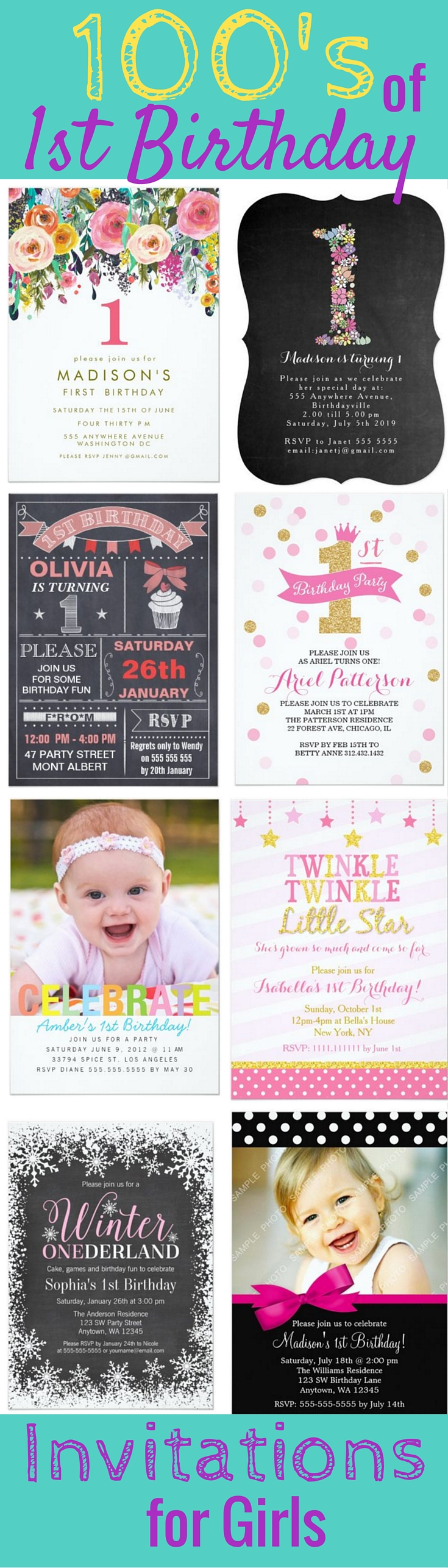 100\'s of 1st Birthday Party Invitations for Girls - Little girl ...