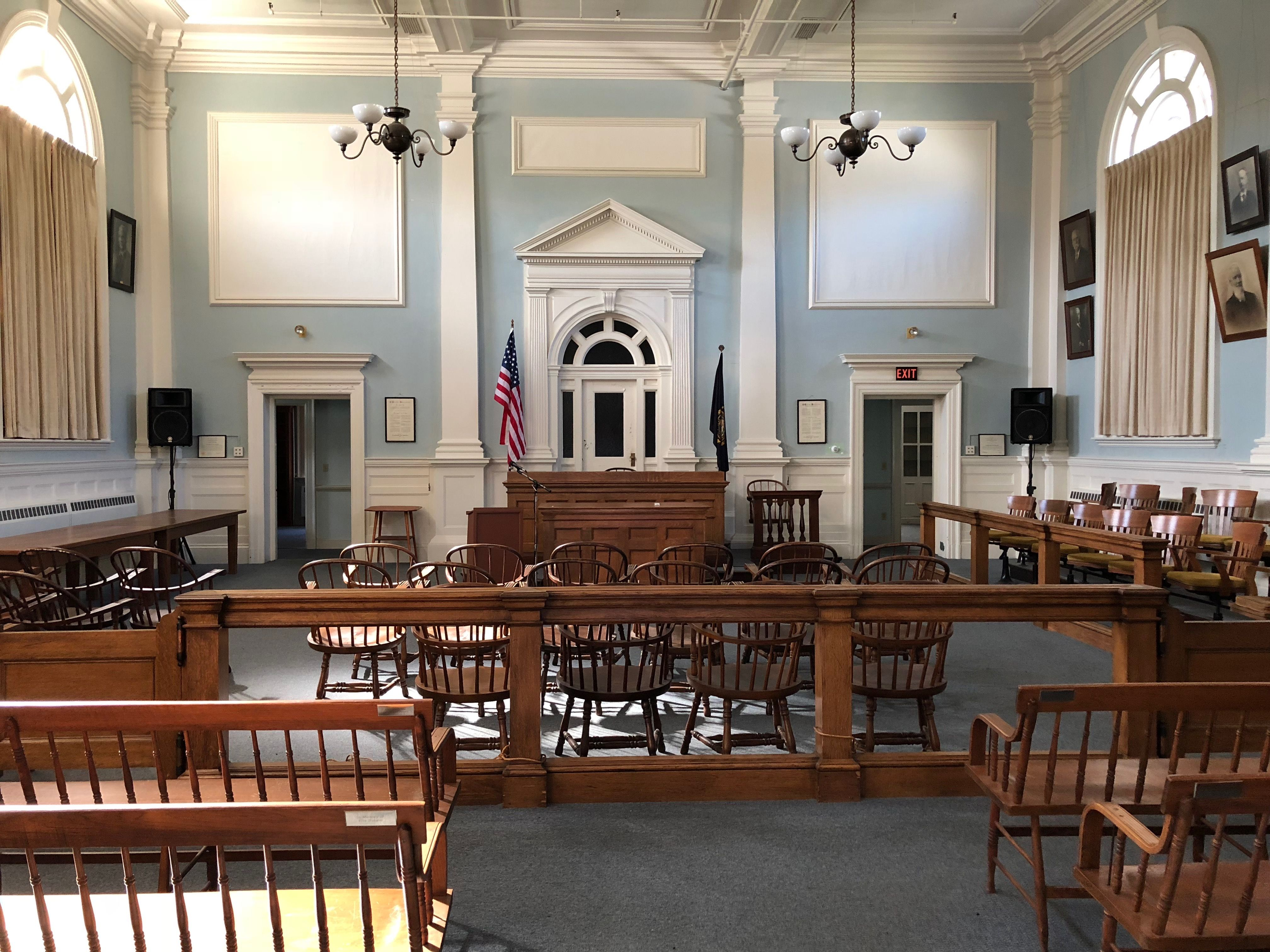 Courtroom inside 1916 carroll county courthouse in ossipee