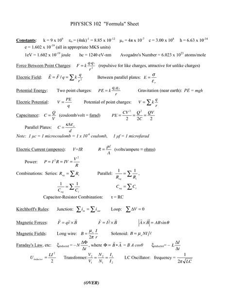 Physics 2 Formulas  Almost every formula you need  | Science