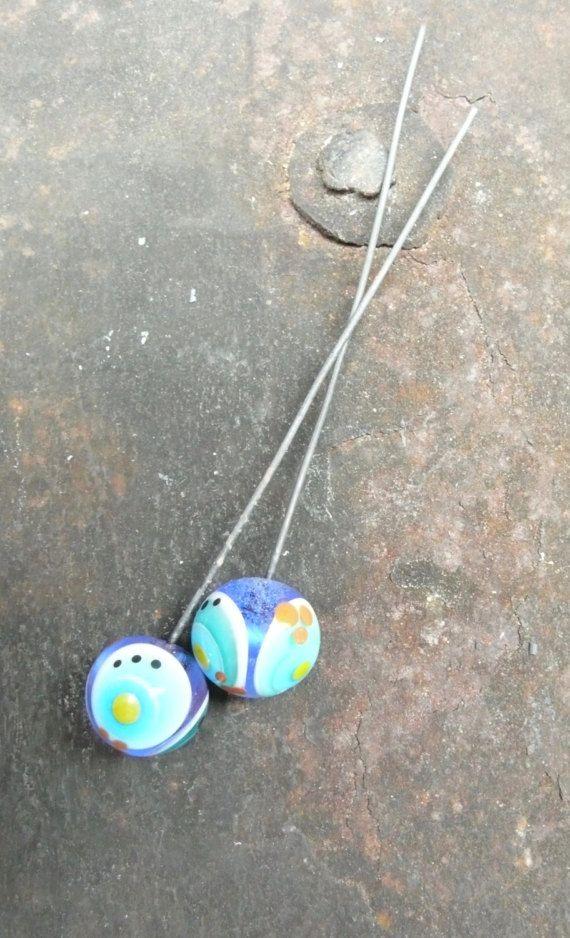Handmade lampwork glass round headpin earring pair by FrauPerlich