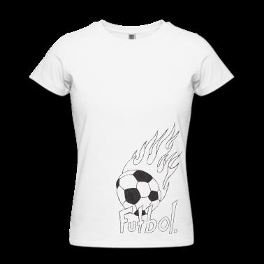 Flaming Soccer Ball Design Women\'s Fine Jersey T-Shirt - white ...