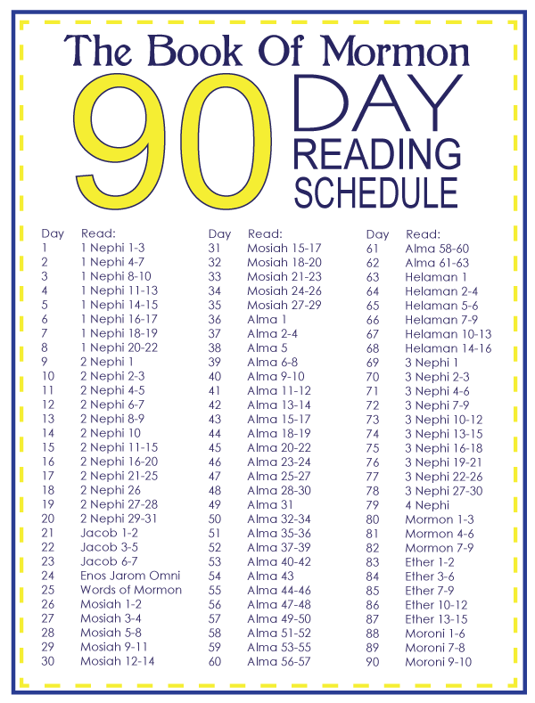 Book Of Mormon 90 Day Reading Schedule Photo This Photo