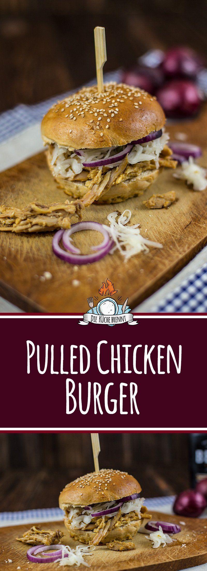 Pulled Chicken Burger Rezept mit Krautsalat | Rezept ...