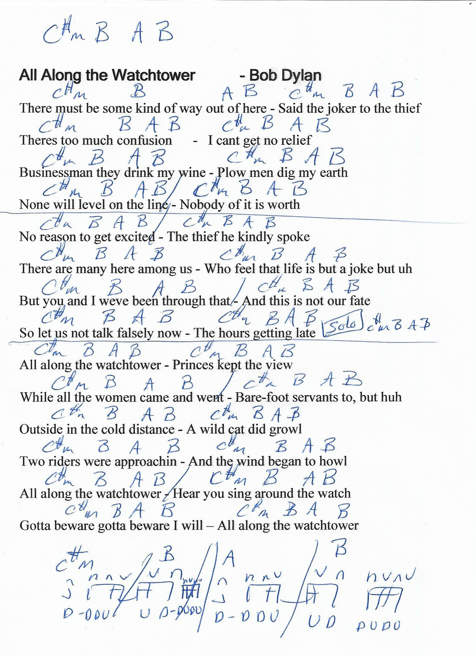 All Along The Watchtower Bob Dylan Guitar Chord Chart In C M