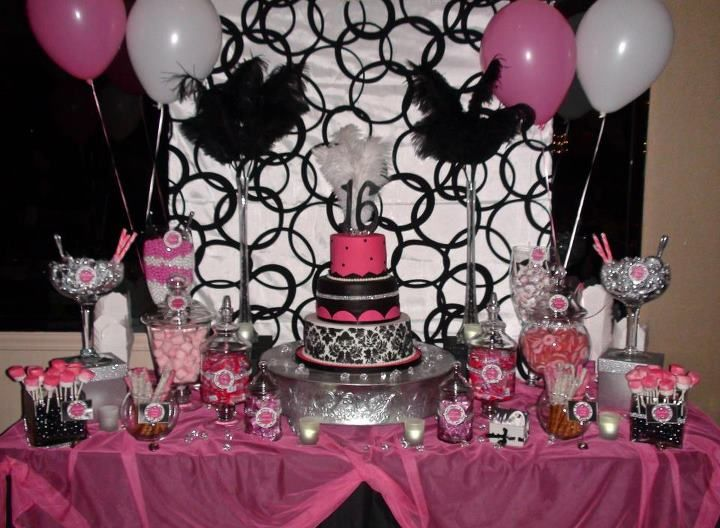 Sweet 16 Sweets Dessert And Candy Table Hot Pink Black White
