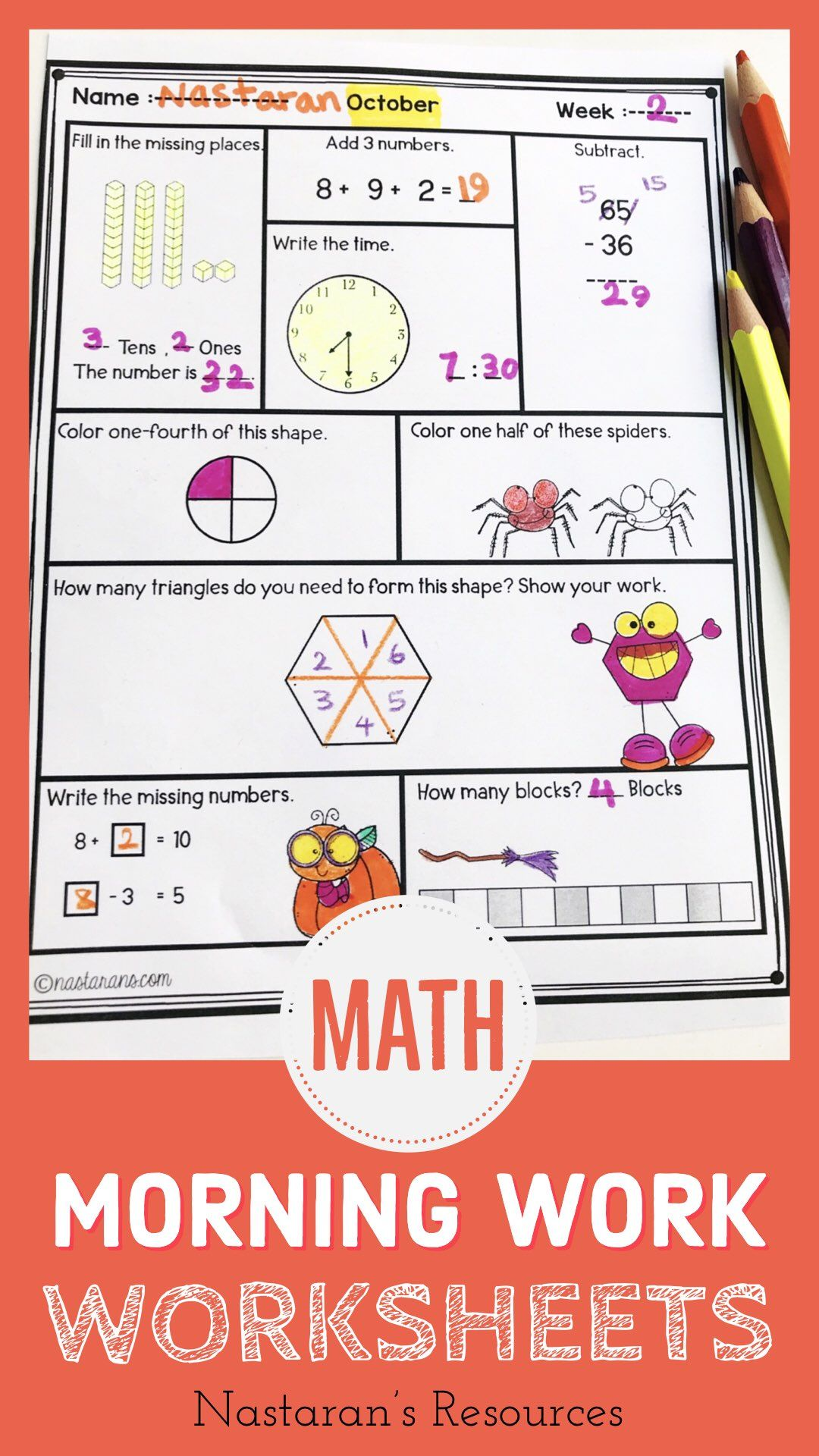 Halloween Math Worksheets Daily Math Review