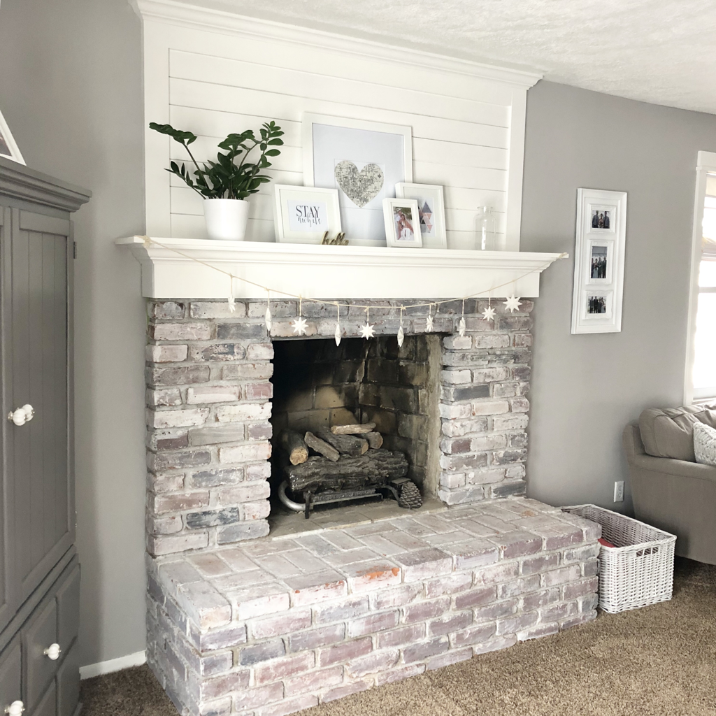 Brick Fireplace Makeover With Shiplap And Whitewash Blush And Batting Blog Blush And Bat White Wash Brick Fireplace Brick Fireplace Makeover Home Fireplace