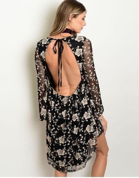 Black Taupe Open Back Dress