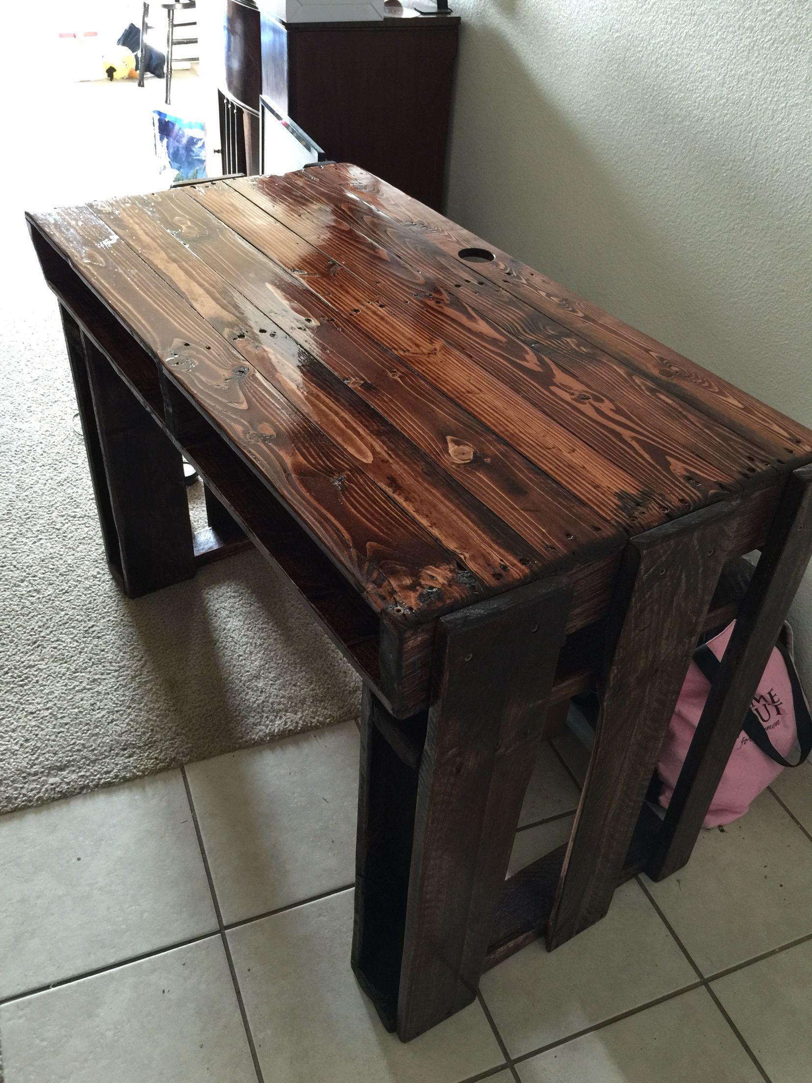 Our new computer desk made from pallets palettentische pinterest paletten tisch tisch - Rustikaler schreibtisch ...