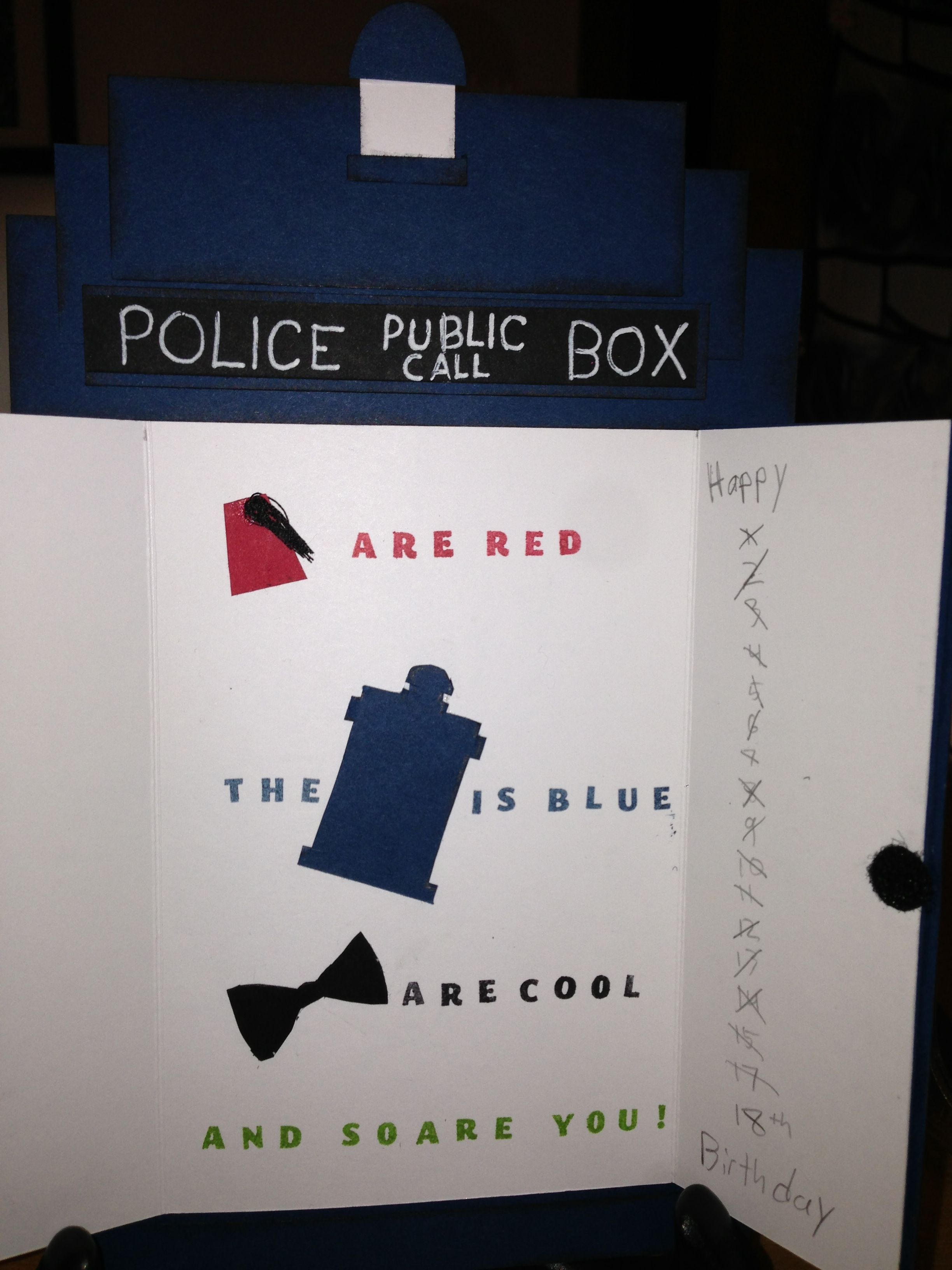 Doctor Who Birthday Card Inside Stampin Up Products Doctor Who Birthday Doctor Who Party Call Happy
