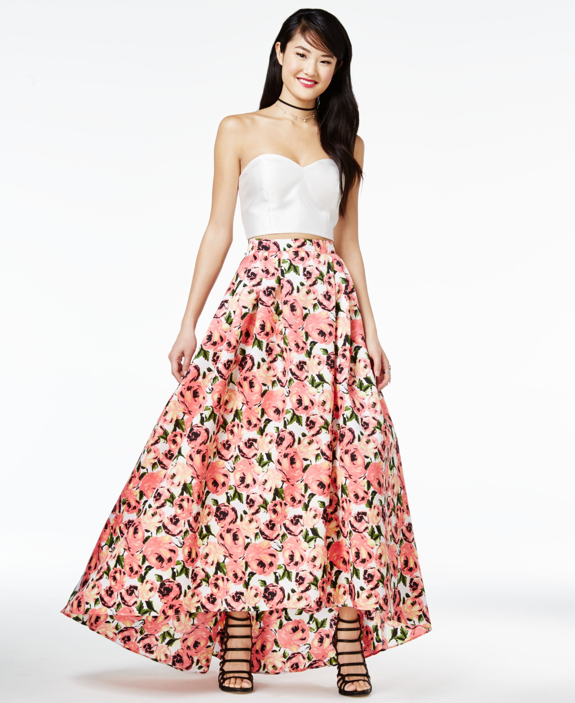 B darlin juniorsu pc strapless highlow gown dresses