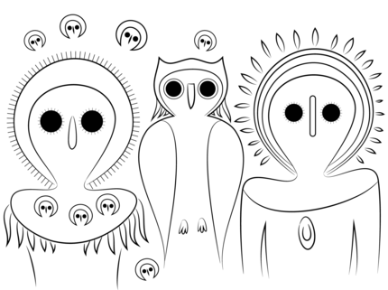 Aboriginal Owls coloring page SuperColoringcom Art History