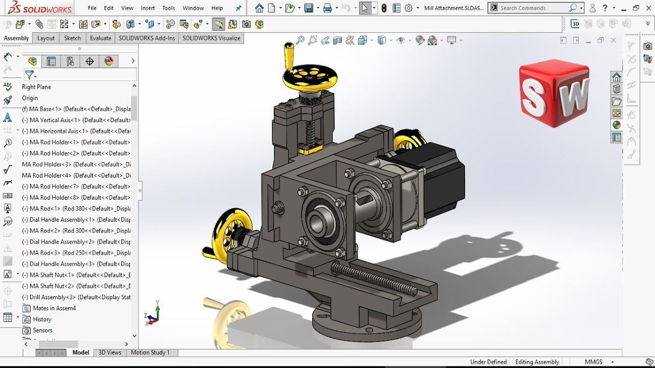 Solidworks Tutorial Hp Milling Attachment For Lathe Assembly Solidworks Tutorial Solidworks Tutorial