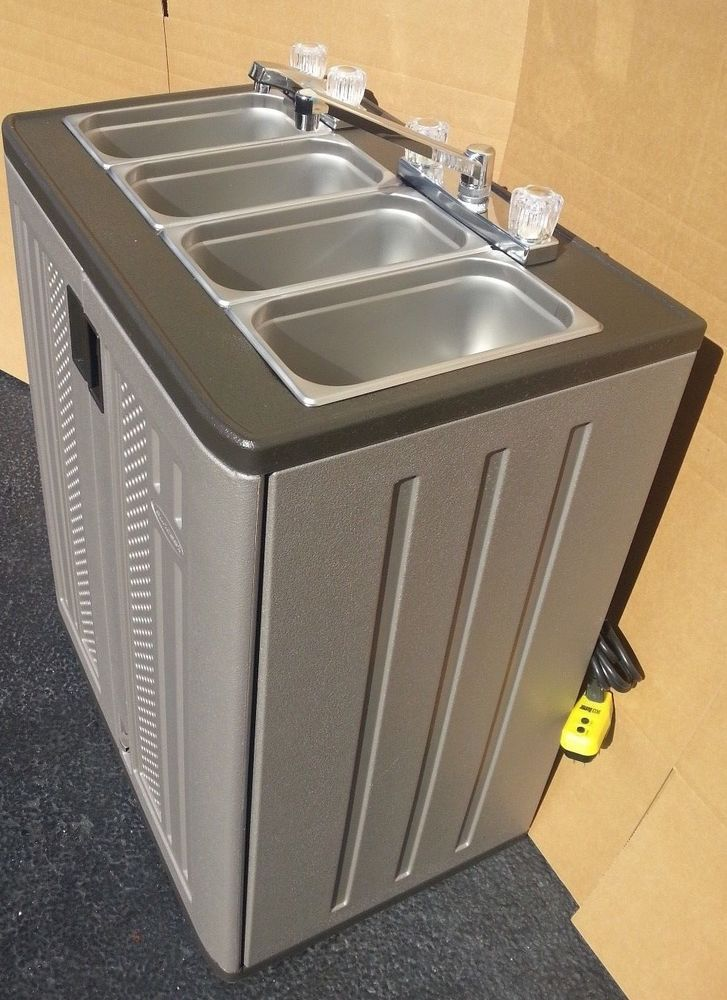 Portable 4 Compartment Sink.Portable Sink Mobile Concession Compartment Hot Water 4