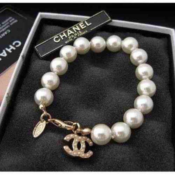 Chanel Cc Logo Charms Beads Bracelet Jewelry Chanel Pearls