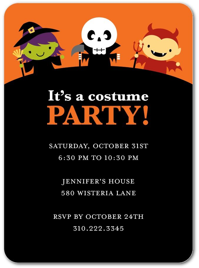 Classic Costumes - Halloween Party Invitations in Black | Nancy Kubo ...