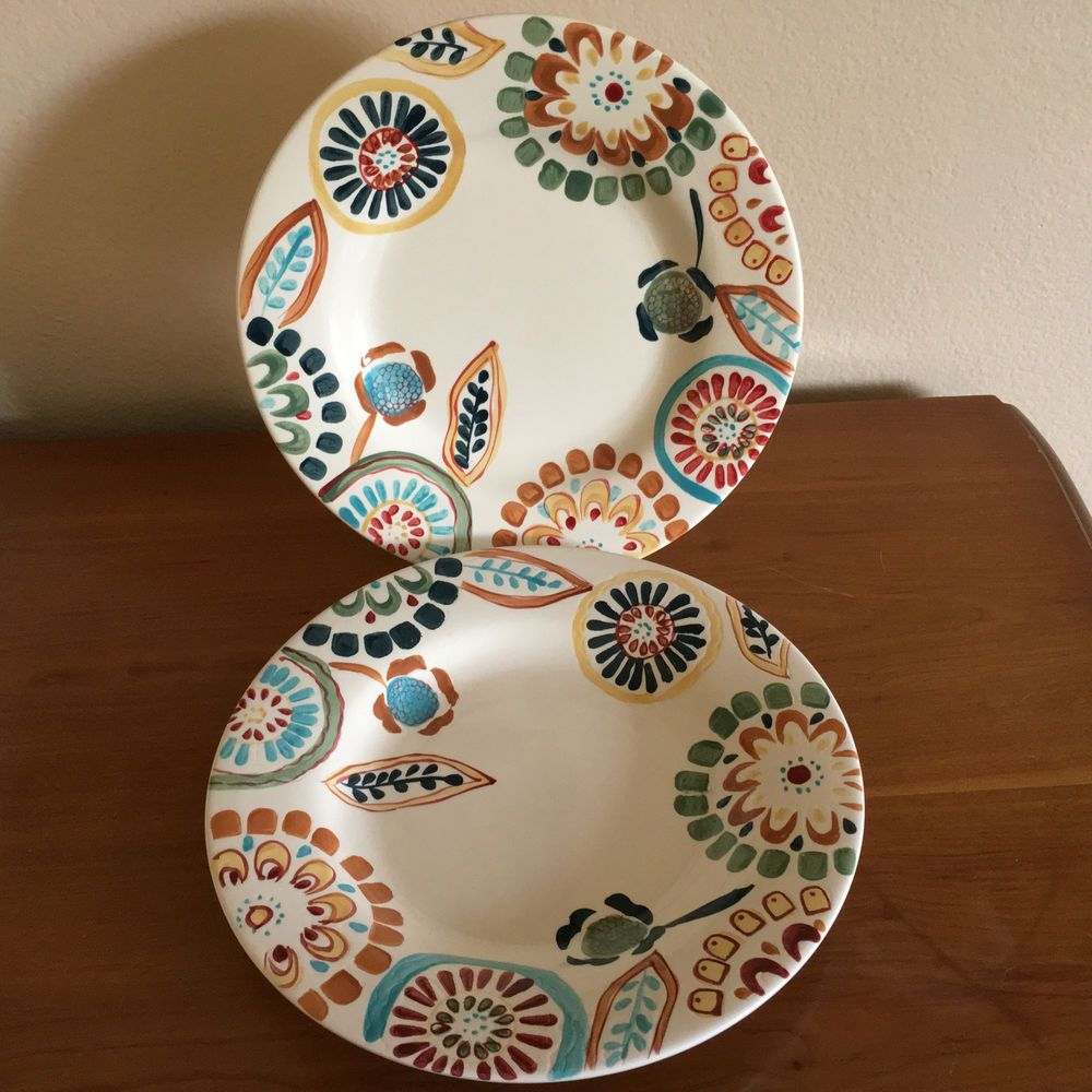 2 American Simplicity Zinnia by Home 11 1/2  Plates Stoneware DW/MW & 2 American Simplicity Zinnia by Home 11 1/2