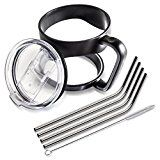 #3: 5Pillars 7 Piece Tumbler Accessory Bundle with Cup Handle Splash Proof Slide Mug Lid and Stainless Steel Drinking Straws for YETI RTIC Ozark Trail and SIC Ramblers 30 oz.